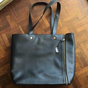 Black vegan leather tote NWOT